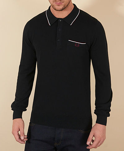 Fred Perry Fine Tip Long Sleeve Polo Shirt